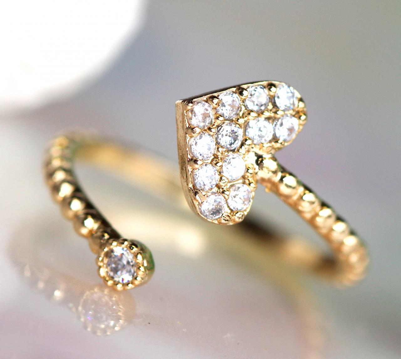 (Gold one) Adjustable Lovely Gold Plated Heart-shape Ring/ Small But Beautiful Enough To Express Your Purity