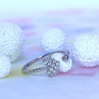 (Silver one) Adjustable Lovely White Gold Plated Heart-shape Ring/ Small But Beautiful Enough To Express Your Purity